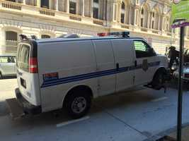 Jurors look at the police van in which Freddie Gray sustained an injury that led to his death a week later.