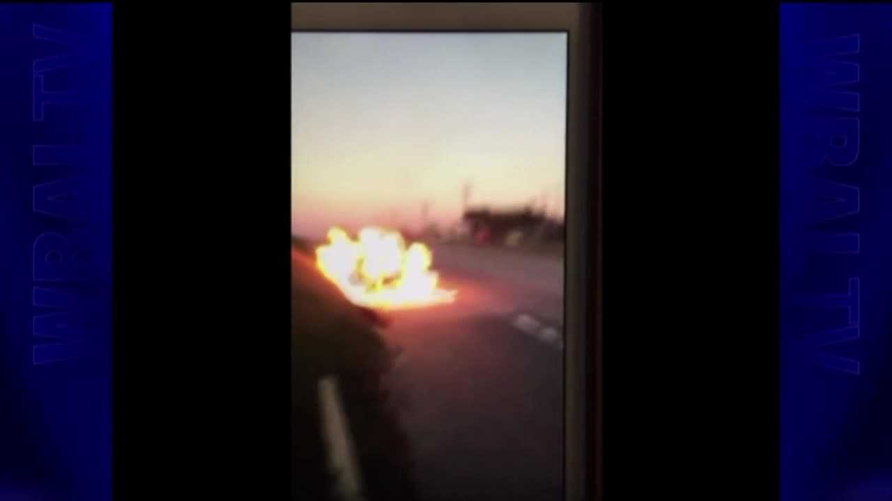 Fiery fight recorded on video