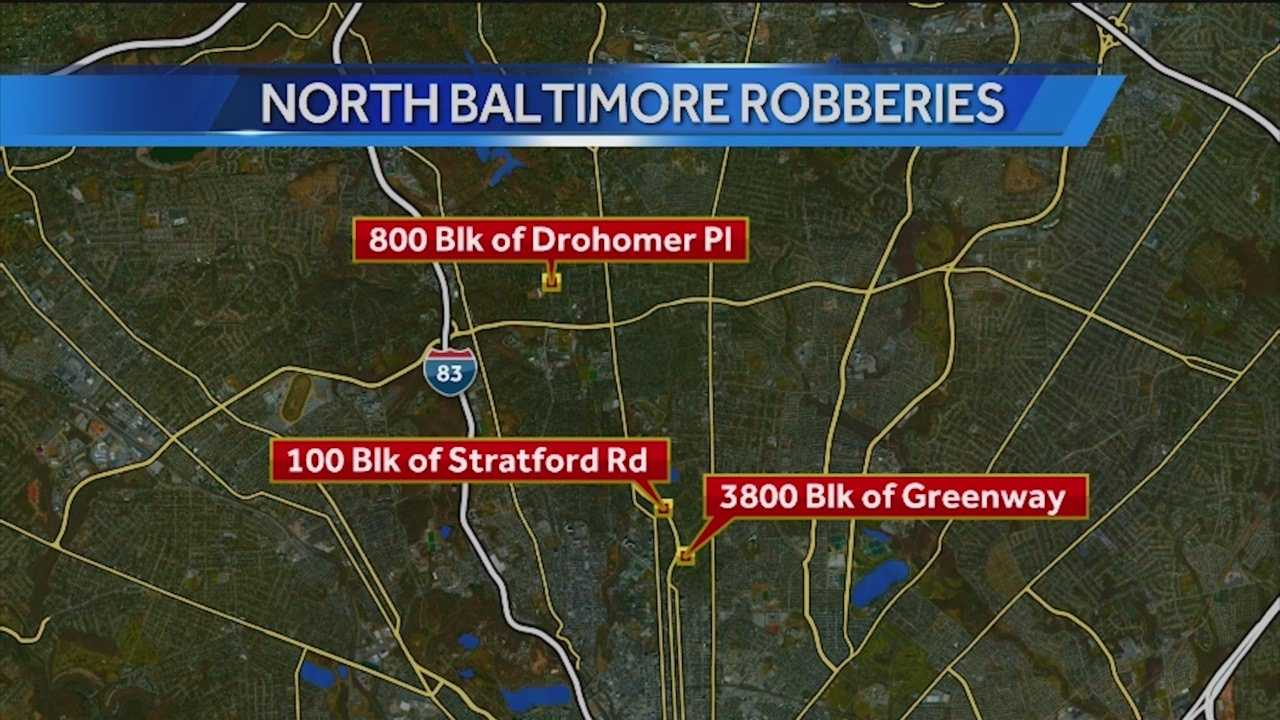 City police said there are looking for the person responsible for robbing at least three women in north Baltimore. Police said the robberies occurred between Dec. 17 and 19 in the Guilford and Roland Park communities.