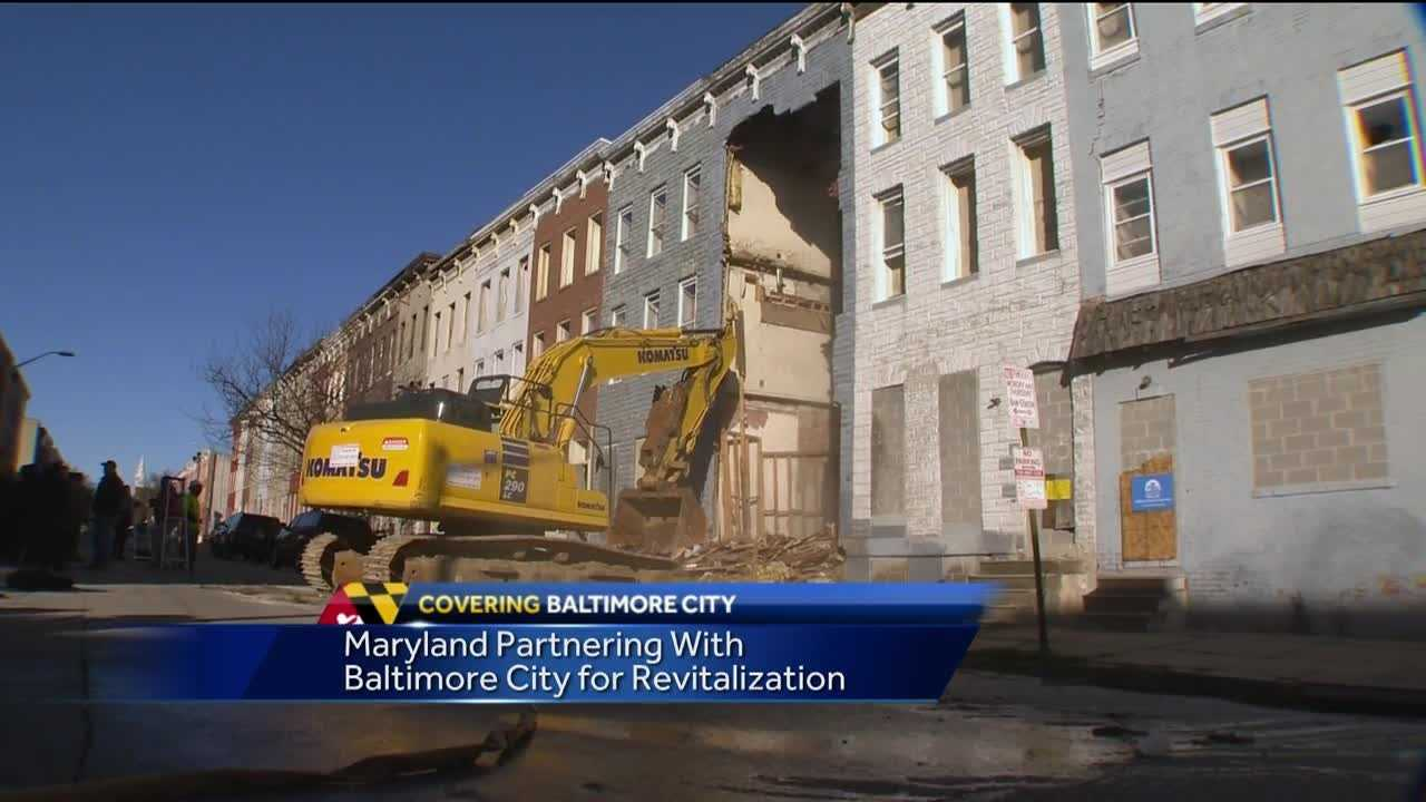 "Maryland state and Baltimore City officials announce more than $700 million in a joint revitalization project addressing rundown city neighborhoods. The goal is to use the money to demolish thousands of vacant buildings over the next four years. The governor and the mayor called this partnership ""historic.\"" Demolition began Tuesday in the Sandtown-Winchester neighborhood in west Baltimore, where Freddie Gray was arrested and the where the civil unrest began. In this first year, it's estimated about 20 city blocks can be completely cleared to create space for parks, affordable housing and businesses."