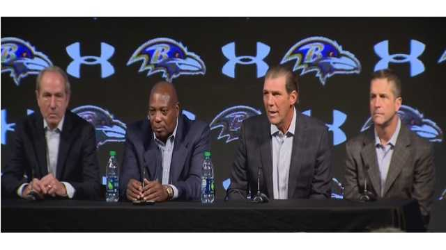 "Ravens president Dick Cass, general manager Ozzie Newsome, owner Steve Bisciotti and coach John Harbaugh address the media and the team's annual ""State of the Ravens"" address."