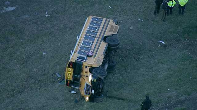 overturned bus in Howard County