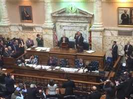 Jan. 13: Gov. Larry Hogan gets standing ovation in House chamber.