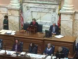 Jan. 13:Sen. Barbara Mikulski addressing house for last time.