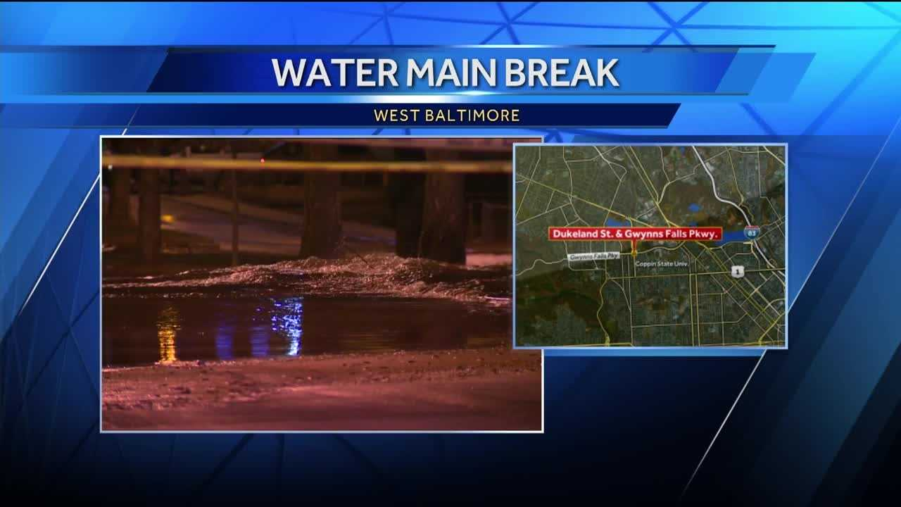 City public works crews are working to repair a water main break in west Baltimore. The break led to three schools being closed Thursday in the city.