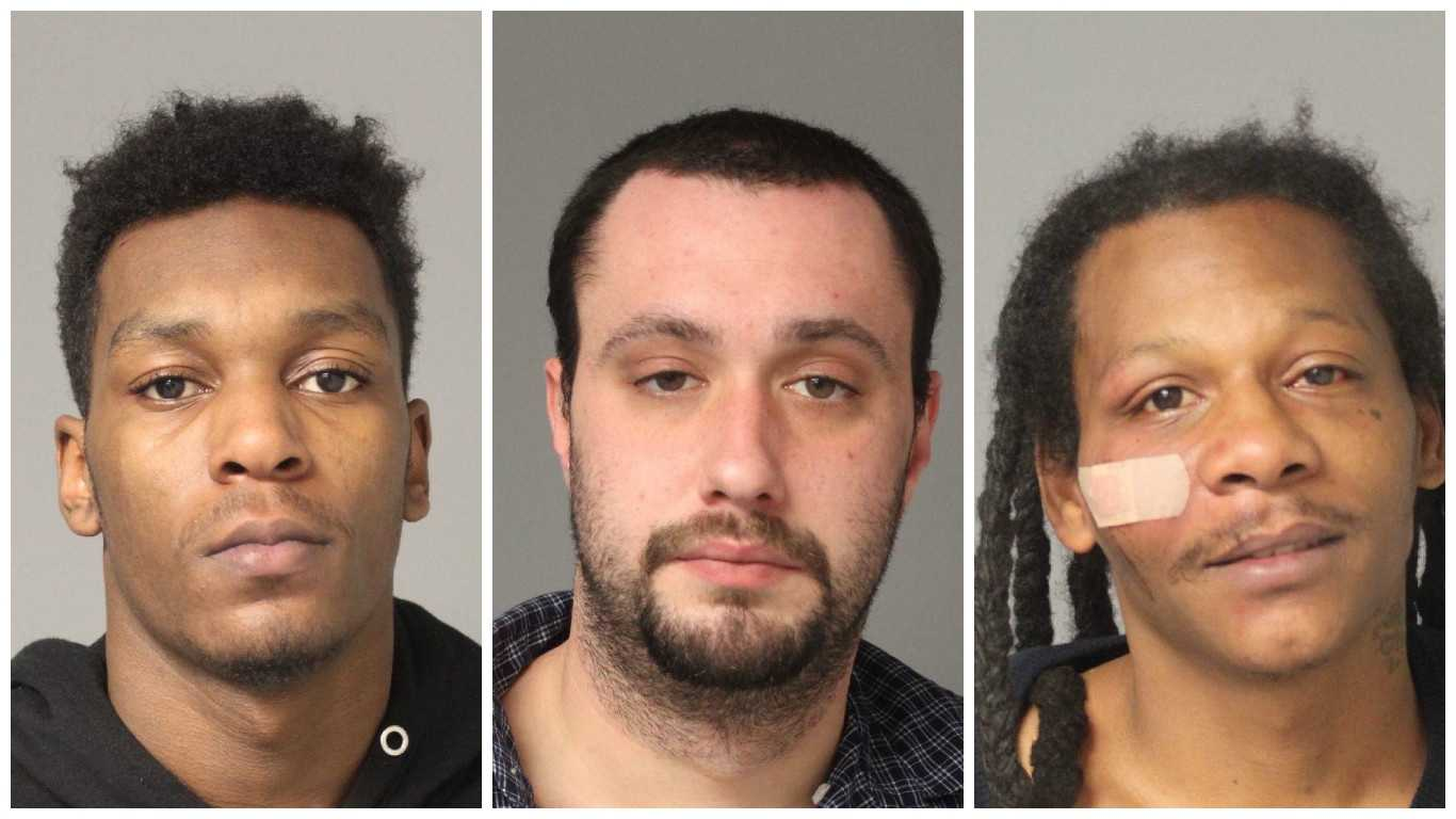 Dangelo Maddox, 19, Thomas Preschel, 25, and Carlton Spriggs, 38, all of Glen Burnie were arrested on separate weapons charges in Anne Arundel County.