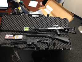 Police said they confiscated a Hi Point 9 mm rifle, Savage .22 caliber rifle, and an M&P .22 caliber rifle and 110 rounds of ammunition after the arrest of Thomas Preschel, 25, of Glen Burnie.