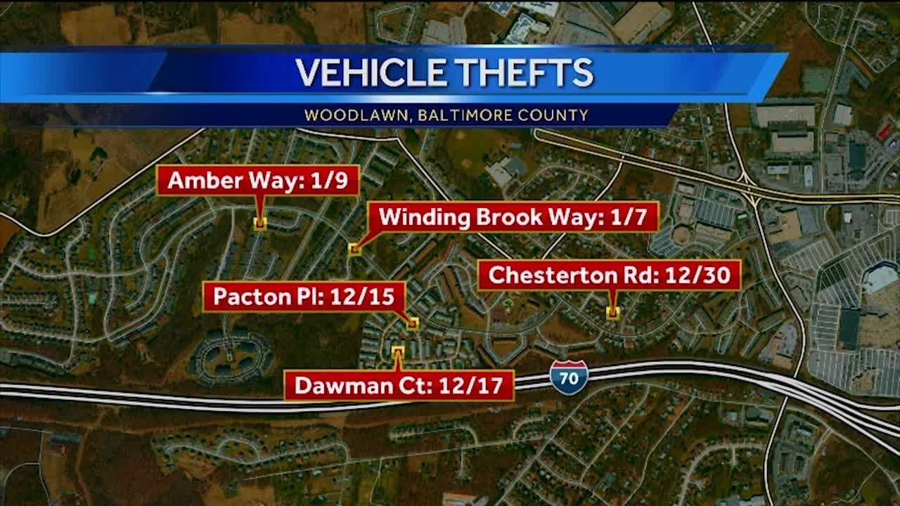 At least five vehicles have been stolen from the Woodlawn area over the past month, Baltimore County police said. Police said in each of the cases, which occurred between Dec. 15 and Jan. 9, the vehicles were left running and unattended.