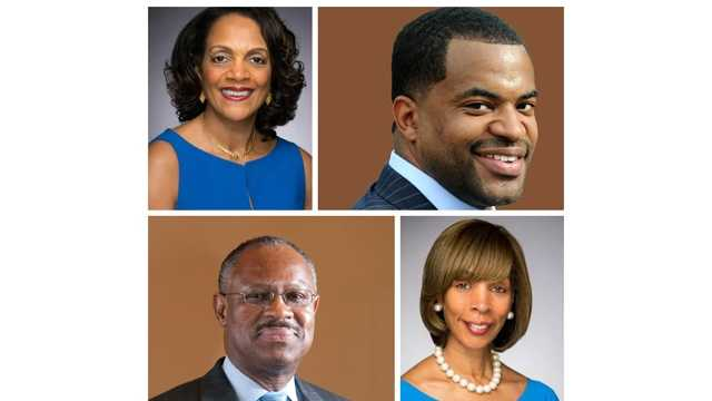 Clockwise: Former Mayor Sheila Dixon, City Councilman Nick Mosby, state Sen. Catherine Pugh and City Councilman Carl Stokes are the top candidates in Baltimore's mayoral race, according to a new poll.