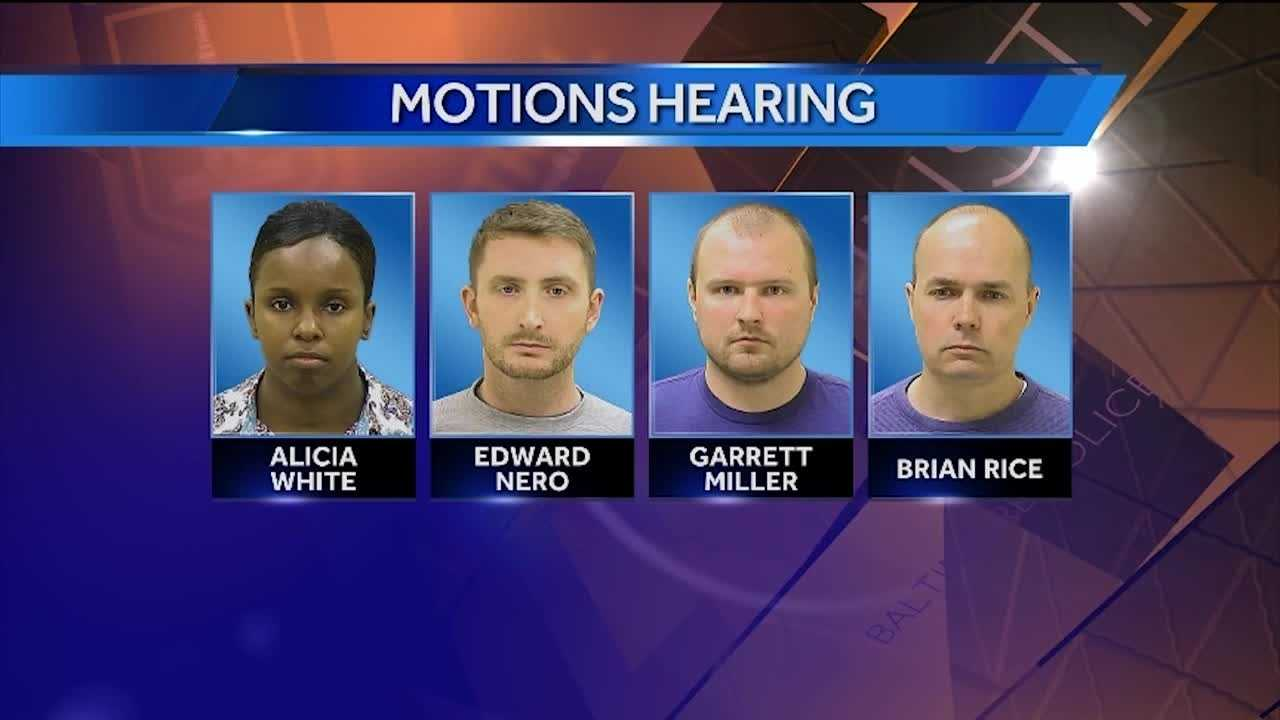 During a hearing Wednesday, Baltimore City Circuit Court Judge Barry Williams denied the state's motion for Officer William Porter to testify in trials of Officers Edward Nero, Garrett Miller and Lt. Brian Rice, three of six officers charged in the police in-custody death of Freddie Gray.