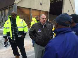Gov. Larry Hogan tours facilities ahead of the storm.