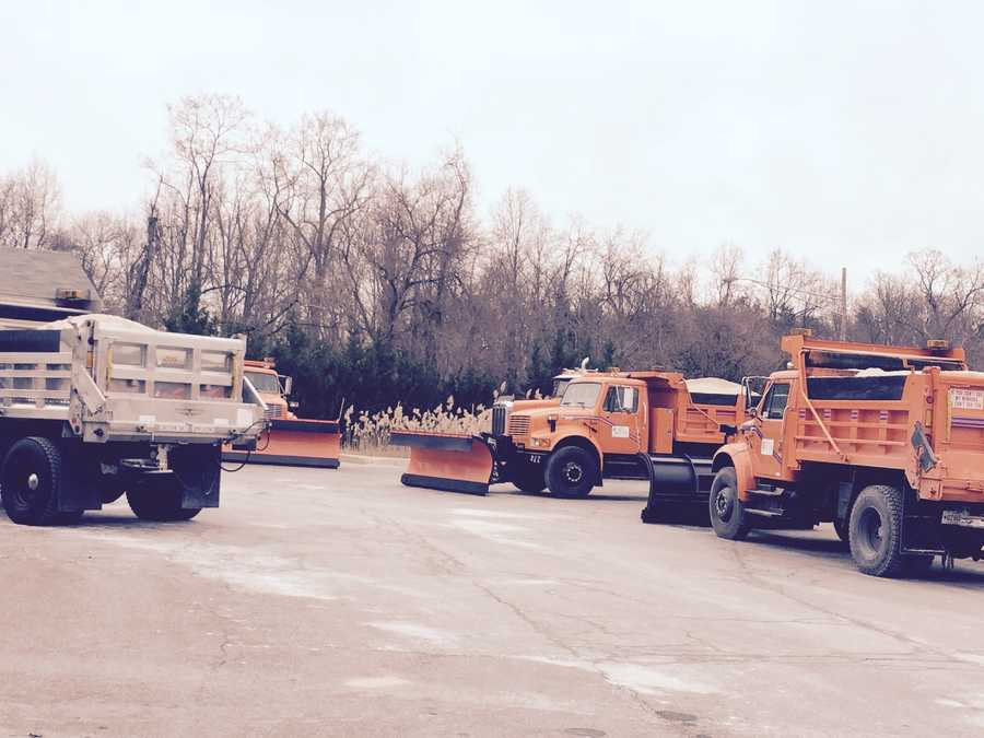 The calm before the storm as crews prepare at the Pasadena, Anne Arundel County, snow plow facility.