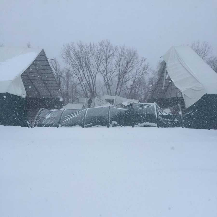 A field house collapsed Saturday under the heavy snow at Concordia Preparatory School in Towson.