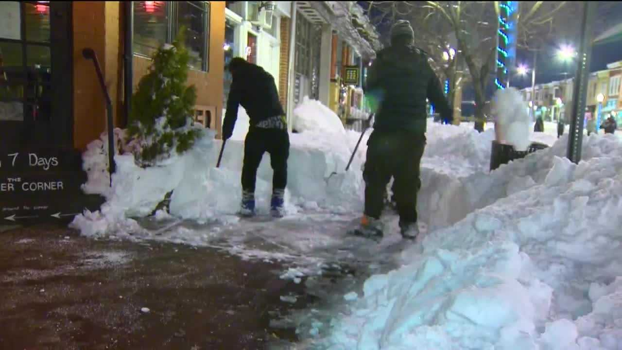 Residents and businesses across the state worked all day Sunday as they attempted to dig out from the largest single snowstorm in Baltimore history.