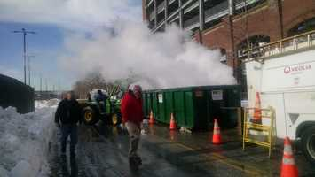 This is how they're removing snow at the stadiums.