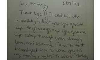 """This is the thank you note Amber wrote her mom on her birthday, June 21 (2012), before she was killed. She wrote this with her bandages hands.,"" Boswell said."