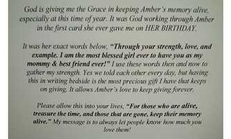 Amber Schinault's mother, Angela Zarcone, writes her response to her daughter's letter.