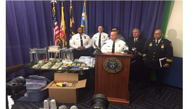 Baltimore Police Commissioner Kevin Davis addresses the media on the details of a heroin bust that took $400,000 worth of the drug off the street.