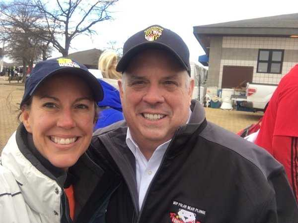 Gov. Larry Hogan with 11 News reporter Jennifer Franciotti at the 2016 Polar Bear Plunge