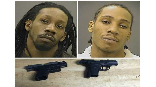Kevin Sherrod and Joshua Horton, both 27 of Baltimore, were charged with various handgun violations after being arrested following a traffic stop in northeast Baltimore, city police said.