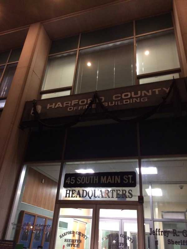 Black bunting draped at the Harford County Sheriff's Office