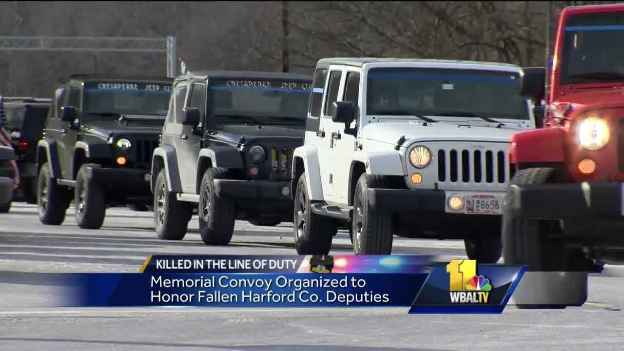 Community members mourning two deputies fatally shot Wednesday in Abingdon are finding ways to honor the fallen heroes. Members of the Chesapeake Jeep Club started a convoy Saturday in Middle River that traveled to the Harford County Sheriff's Office Southern Precinct, where a Sheriff's Office SUV is covered in flowers, cards and balloons in honor of Senior Deputies Patrick Dailey and Mark Logsdon.
