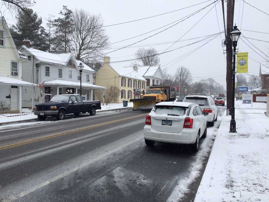 President's Day snow turned into icy conditions as a winter weather advisory was issued for 6 a.m. Monday until 10 a.m. Tuesday for the Baltimore area and the Eastern Shore. Parts of Western Maryland and Southern Maryland are under a winter storm warning.