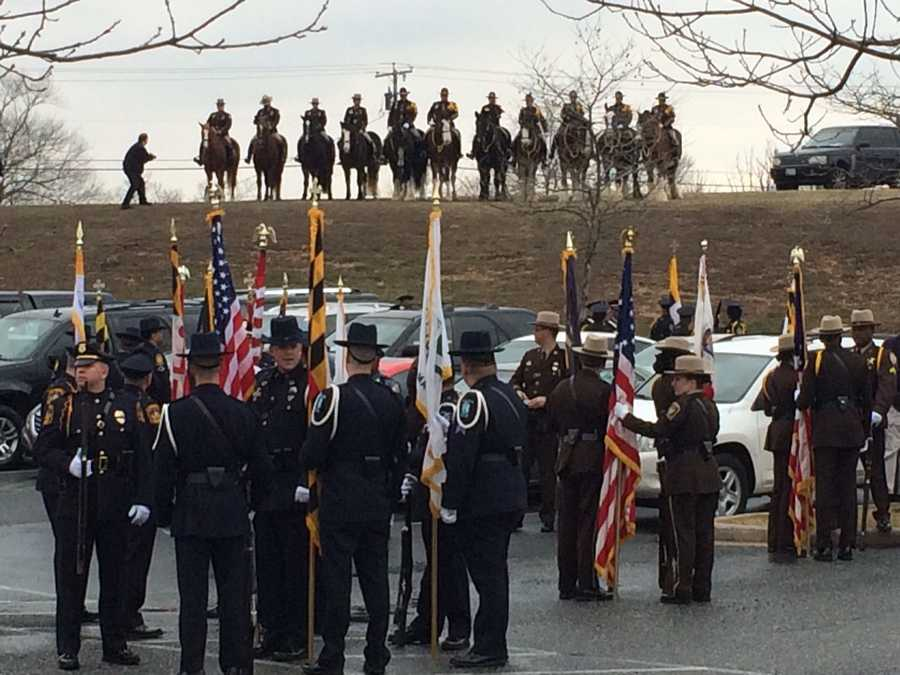 Mounted police units gather outside Mountain Christian Church in Joppa prior to the funeral of Harford County Sheriff's Office Senior Deputy Patrick Dailey.