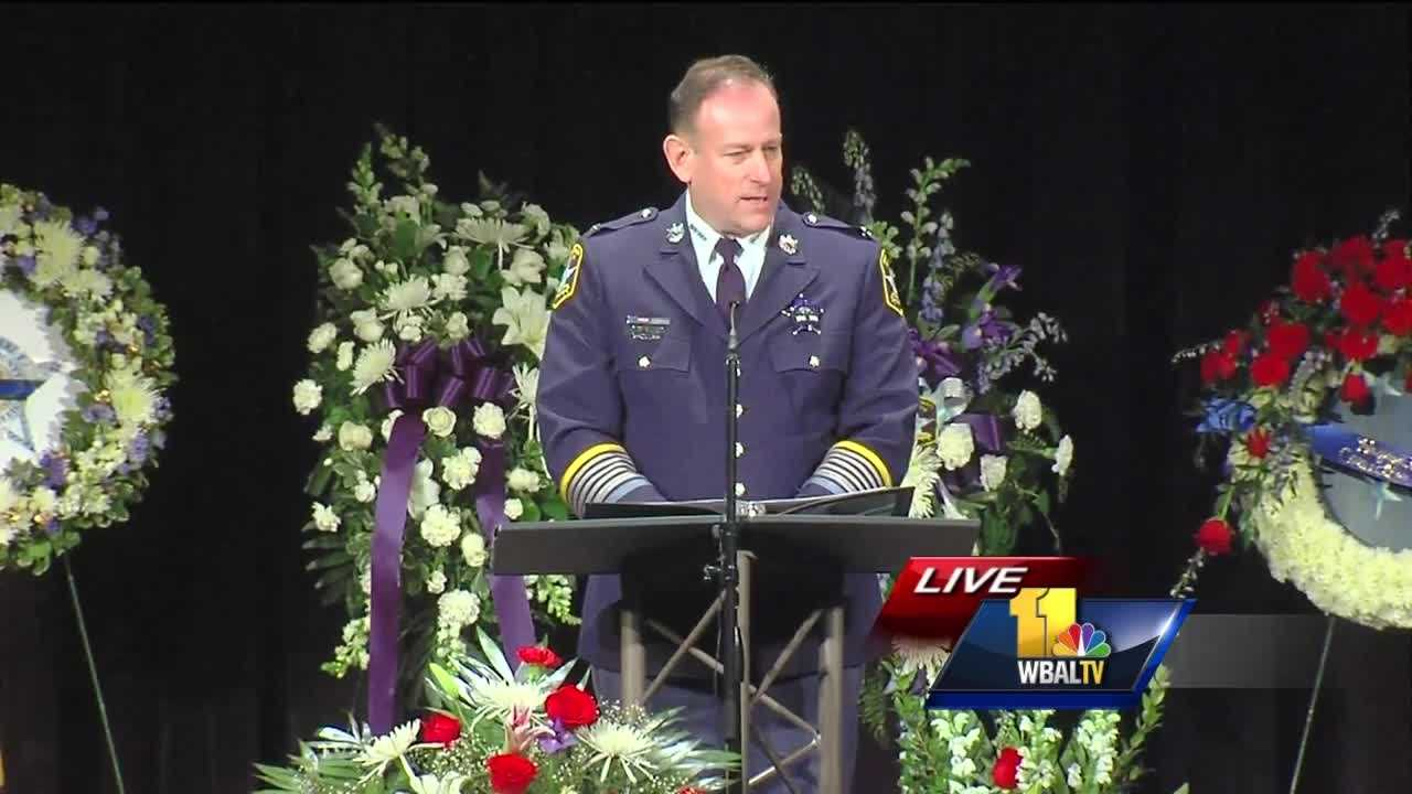 Harford County Sheriff Jeffrey Gahler gets emotional as he reflects on the life of fallen Senior Deputy Patrick Dailey.