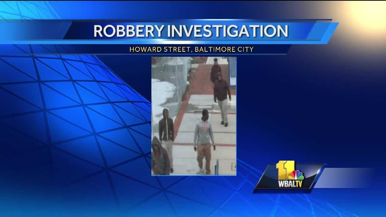 City detectives are asking for the public's help in identifying a group of males believed to be robbery suspects. Police said the group is wanted in connection with a strong-arm robbery that happened around 3:45 p.m. Feb. 4 in the 400 block of N. Howard Street.