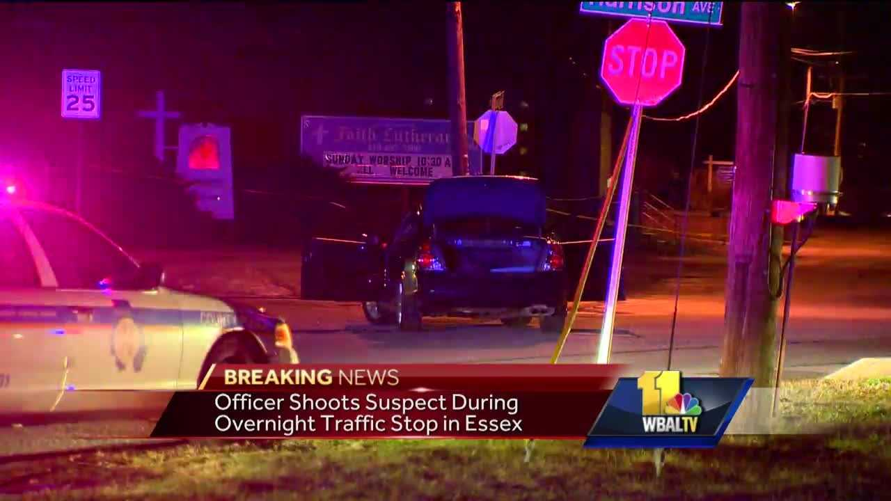 Baltimore County police said they are investigating an officer-involved shooting in Essex. Police said the officer fired his weapon following a traffic stop at Old Eastern and Harrison avenues when a man made a sudden move toward his waistband.