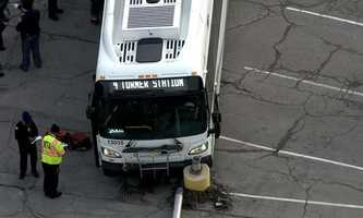 Several people were injured after an MTA bus crashed in Dundalk Friday afternoon, officials said.