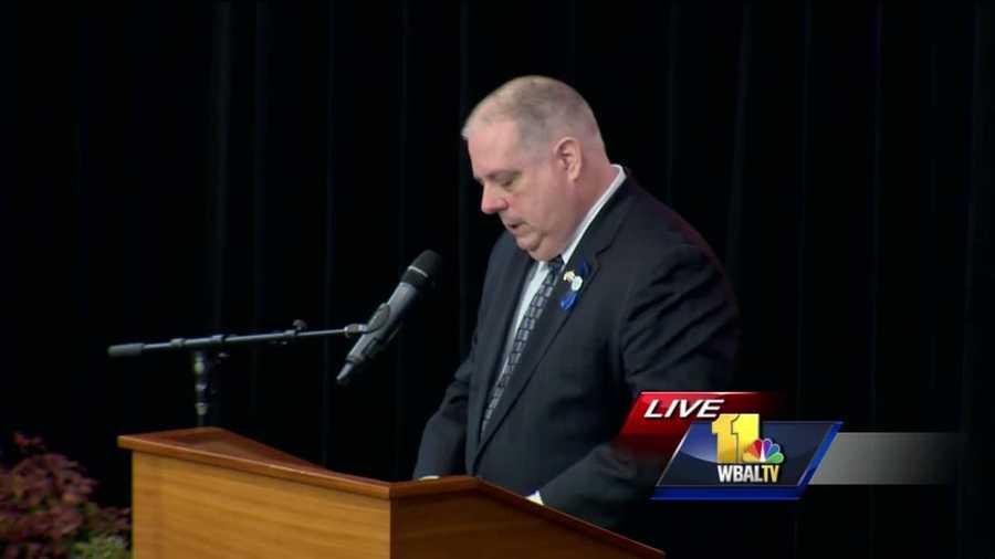 Gov. Larry Hogan speaks at the funeral of Deputy First Class Mark Logsdon.