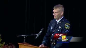 Deputy First Class Marty Hoppa shares fond memories and stories of Deputy First Class Mark Logsdon.