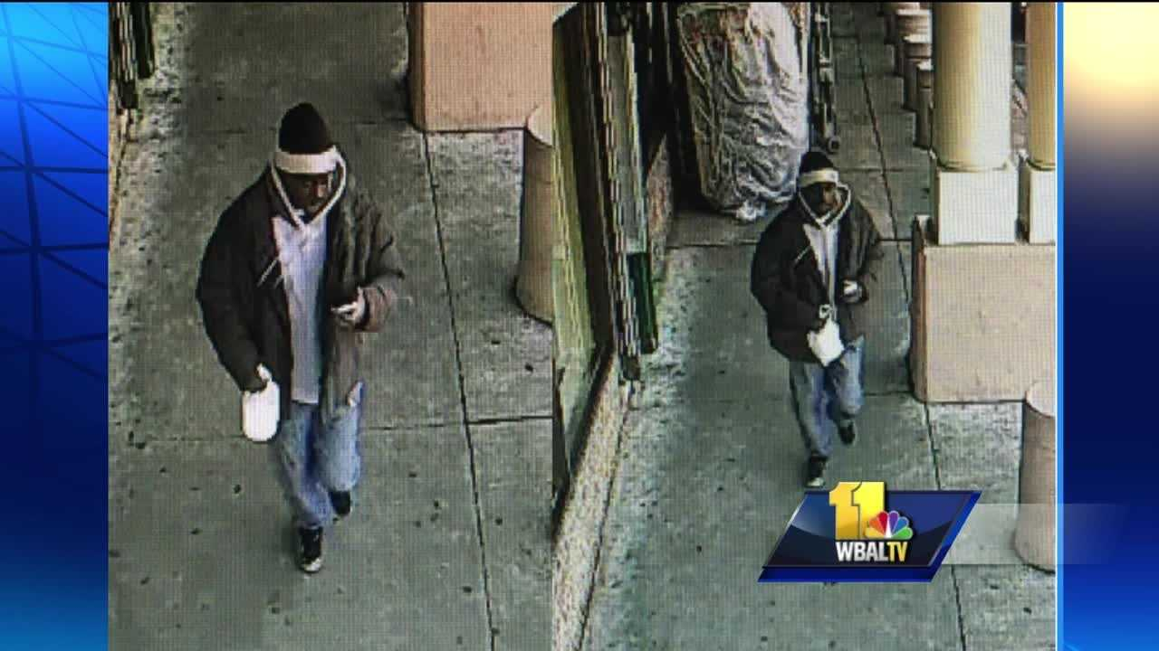 City police have released surveillance photos of the someone they said could be the person who shot a 90-year-old woman and her 82-year-old man on Monday near a shopping complex in southwest Baltimore.