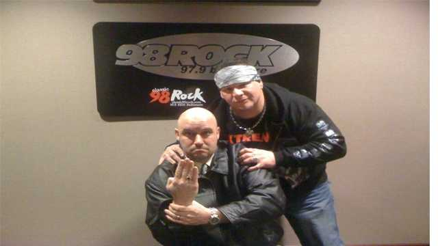 "Axl Rotten stands behind veteran pro wrestler ""Wiseguy"" Jimmy Cicero prior to an appearance on 98 Rock several years ago. Rotten died Feb. 4, 2016 of an apparent drug overdose."