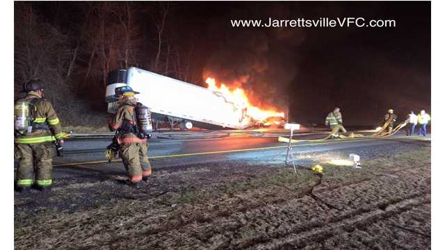 A tractor trailer fire has led to I-83 North being closed Friday morning in northern Baltimore County, Maryland State Police said.
