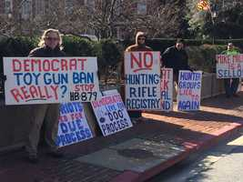 Feb. 26:These protesters oppose a bill that prohibits anyone on a terrorist no-fly list to be able to legally purchase a gun.