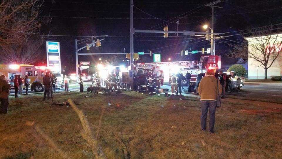 A Baltimore County medic unit was involved in a crash Saturday evening at the intersection of Wise Avenue and Lynch Road. Photo courtesy of Kenneth Brulinski.
