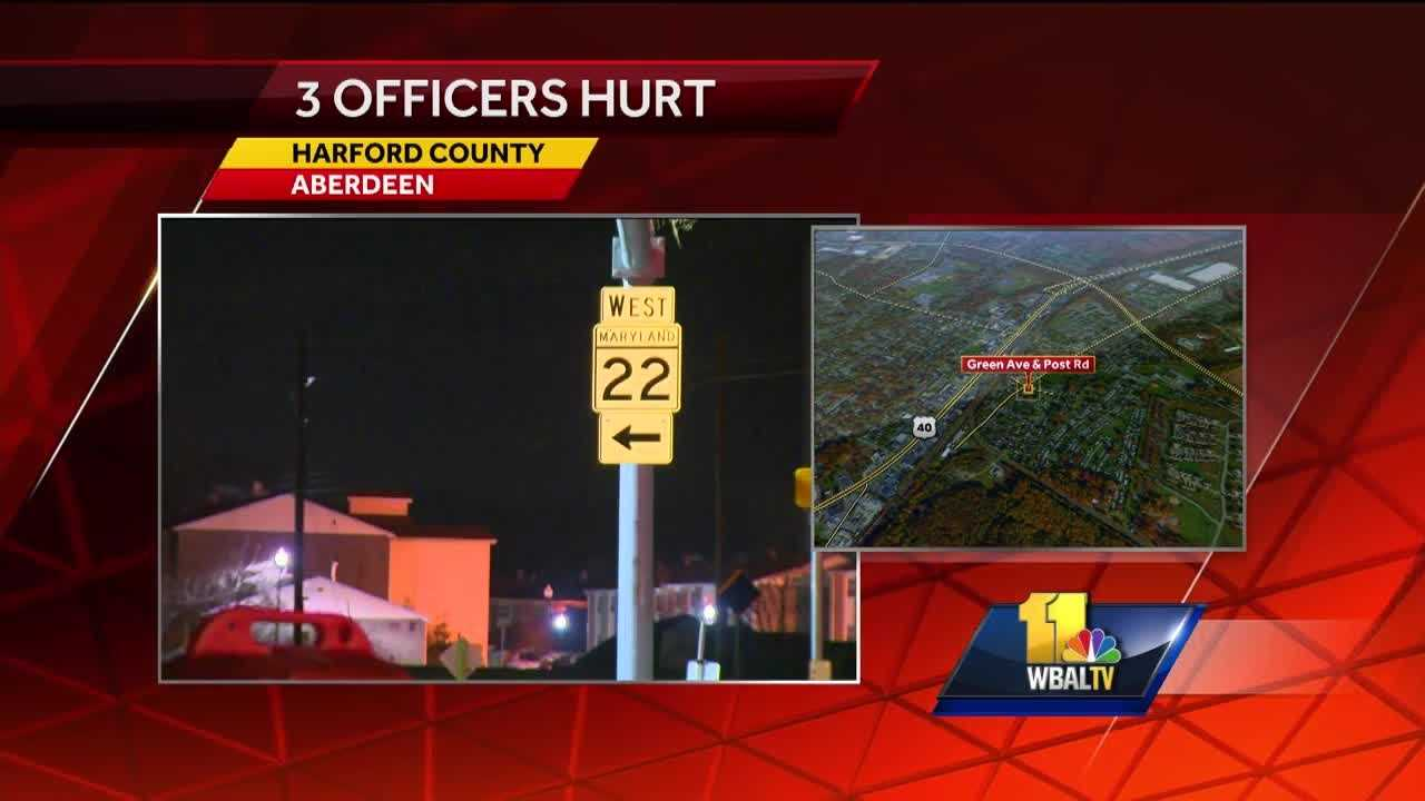 An Aberdeen police officer is at Shock Trauma after being involved in an accident as he was responding to assist two other officers at a traffic stop Monday morning.