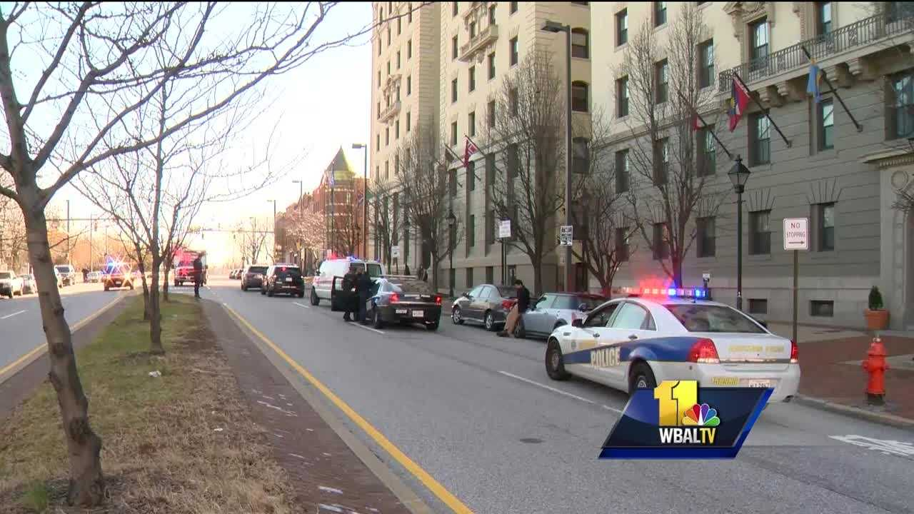 A Baltimore police officer was taken to Shock Trauma Tuesday morning after he was dragged by a car during a traffic stop, city police said. Police said the officer conducted the traffic stop at about 9:30 a.m. in the 100 block of Mount Royal Avenue near North Calvert Street in Midtown. The driver took off, dragging the officer a couple of hundred feet before fleeing the scene, police said.