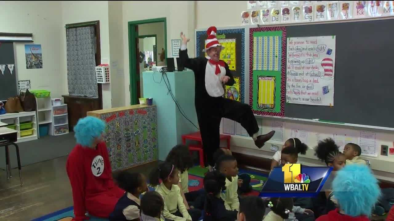 It's Dr. Seuss's birthday, and in celebration, volunteers in classrooms all over the country spent the day reading to elementary school students.