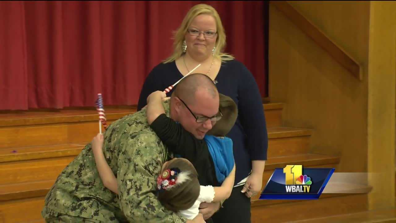 A Navy reservist deployed for the past 10 months surprised his two young children Monday in Baltimore County. Sandy Plains Elementary School in Dundalk may never be the same thanks to Shaun and Tanya Abshire.