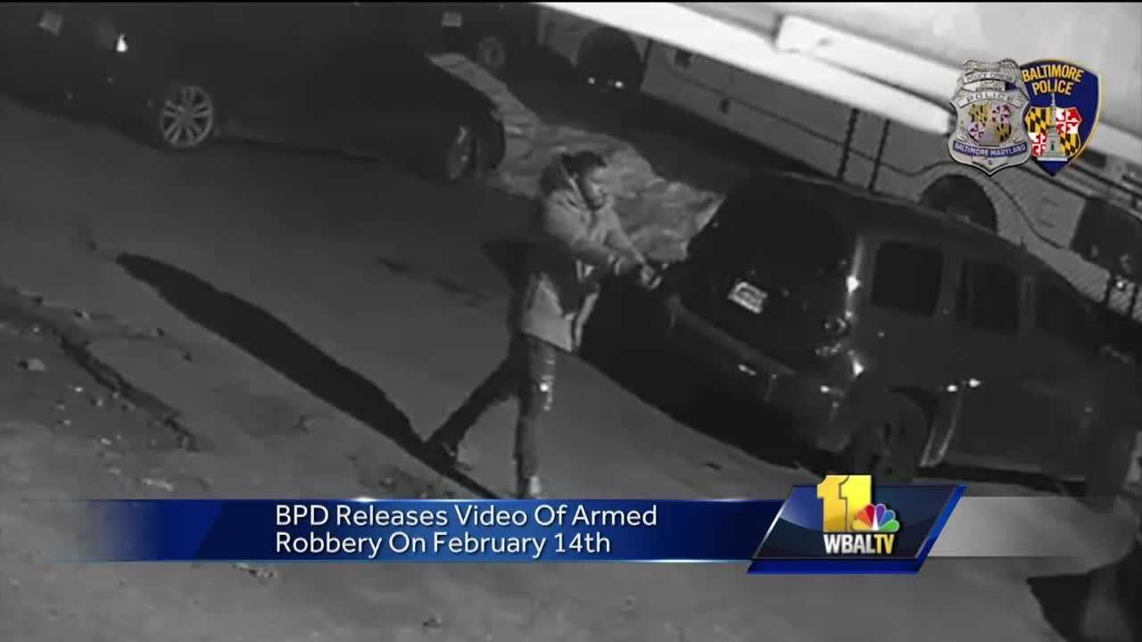Baltimore police have released new video of an armed robbery hoping someone will recognize the man involved. Police said the robbery happened on Valentine's Day along Bellona Avenue near where it intersects with York Road in north Baltimore.