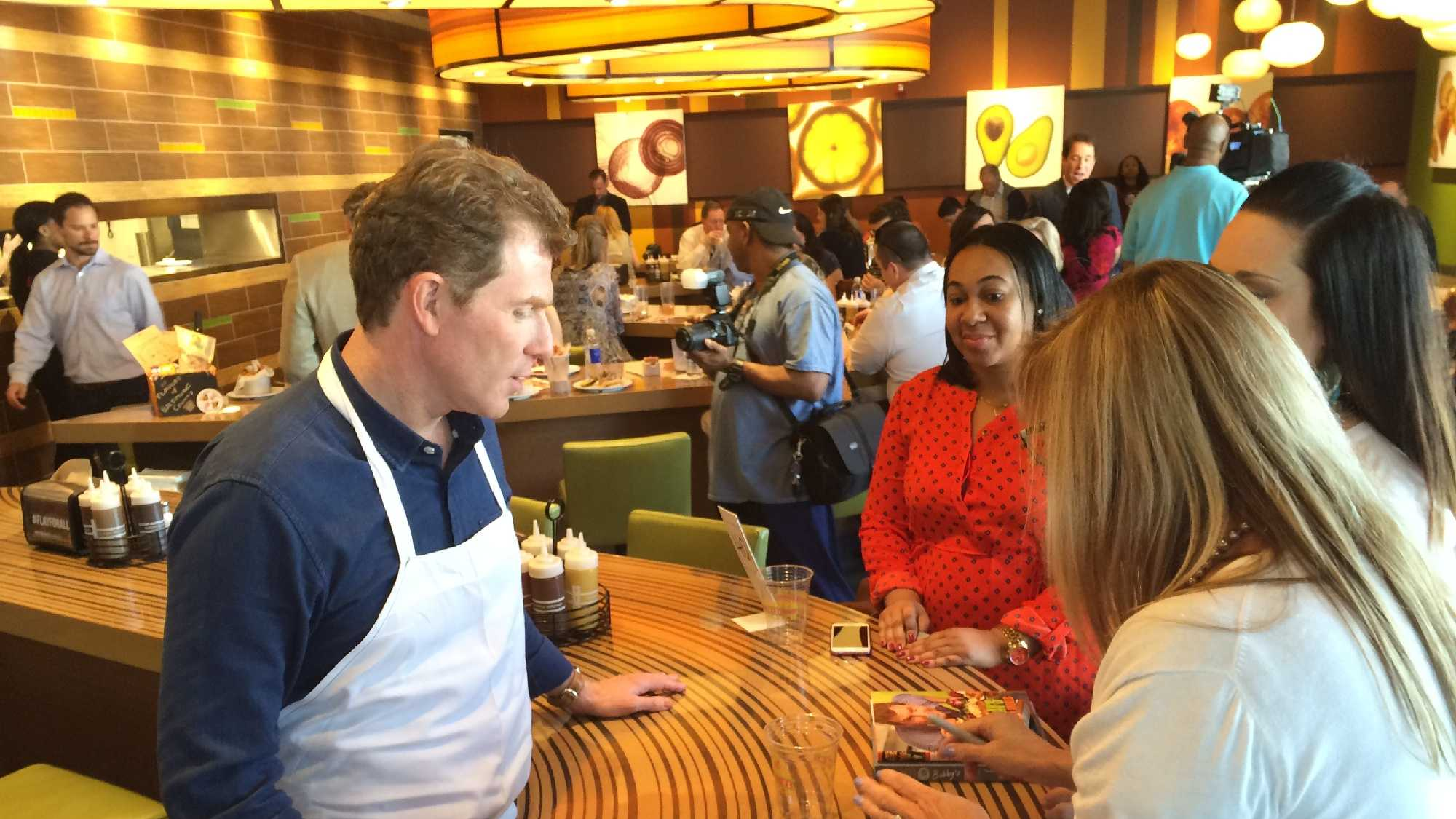 Celebrity chef Bobby Flay was in Baltimore County on Wednesday.