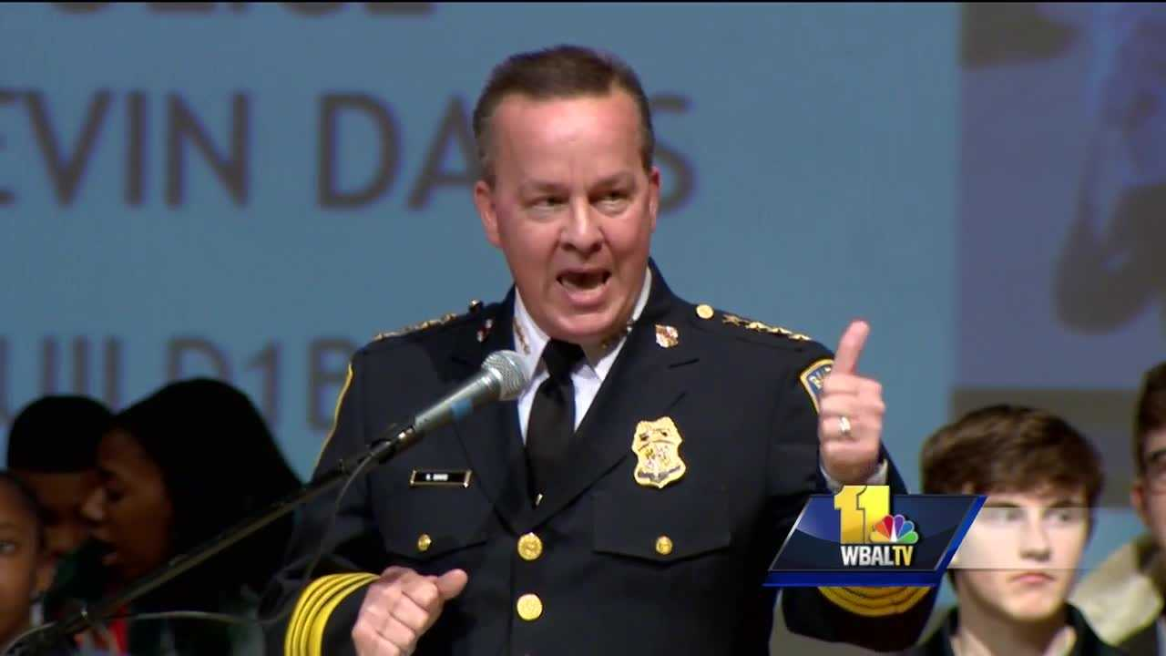 Baltimore Police Commissioner Kevin Davis speaks at a political forum, saying he's on board with BUILD's efforts to train officers in developing relationships with the community.