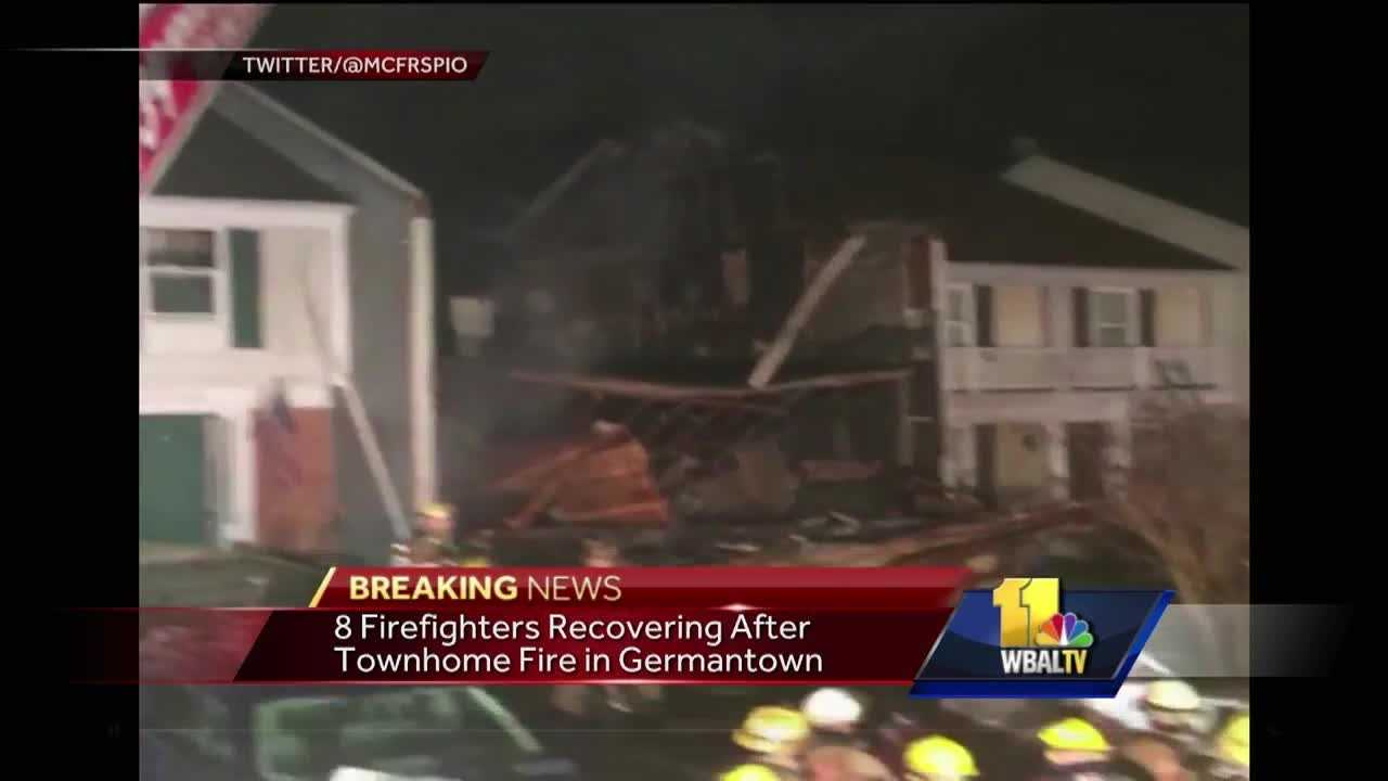 Eight firefighters were hurt during a three-alarm townhome fire Monday in Montgomery County.