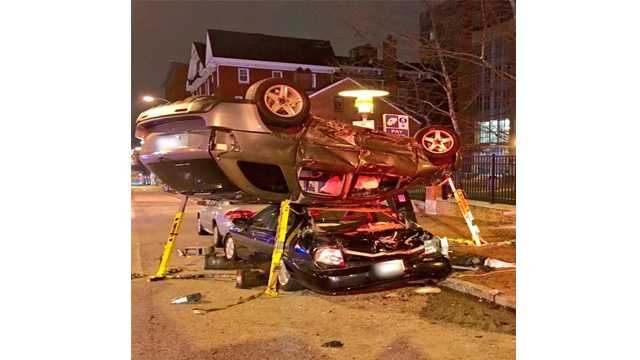 Three people were taken to the hospital after a two-vehicle collision early Tuesday morning in Baltimore. City fire department spokesman Samuel Johnson said the accident occurred around 1:35 a.m. at the intersection of North Paca Street and West Fayette Street.
