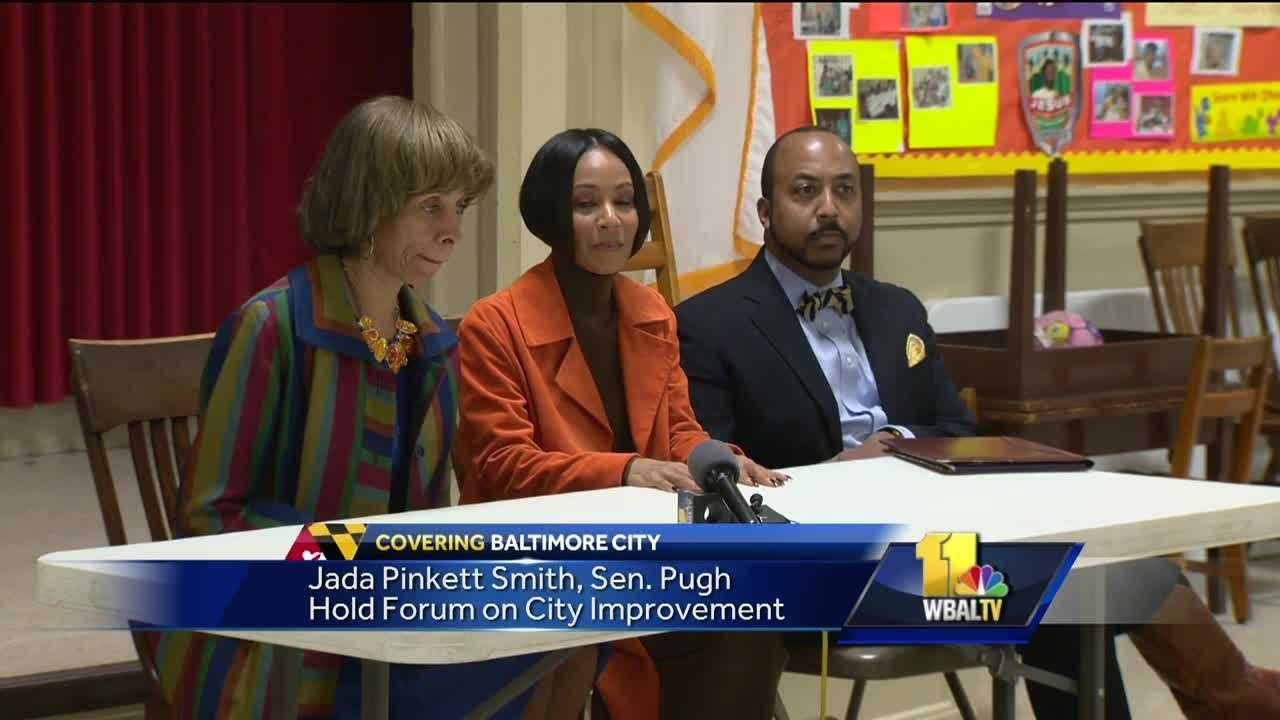 Baltimore has some star power on its side aimed at moving the city forward. On Sunday, state Sen. Catherine Pugh accepted an invitation from actress Jada Pinkett Smith to attend church with Smith's family. After the service, both women hosted a forum with community members in order to get feedback on improvements the public would like to see in the city.