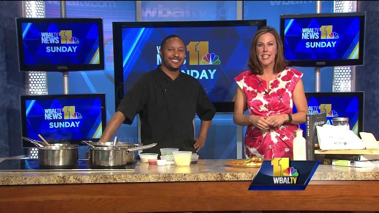 Thomas Casey, owner and executive chef of For the Love of Food, prepares shrimp and grits. He also previews the Taste of Pikesville, which is set for April 6 at DoubleTree by Hilton.